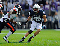 31 October 2015:  Penn State DE Carl Nassib (95) drops into coverage. The Penn State Nittany Lions defeated the Illinois Fighting Illini 39-0 at Beaver Stadium in State College, PA. (Photo by Randy Litzinger/Icon Sportswire)