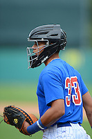 Catcher Gianpaul Gonzalez (33) of Seneca Valley High School in Toa Alta, Puerto Rico playing for the Chicago Cubs scout team during the East Coast Pro Showcase on August 2, 2013 at NBT Bank Stadium in Syracuse, New York.  (Mike Janes/Four Seam Images)