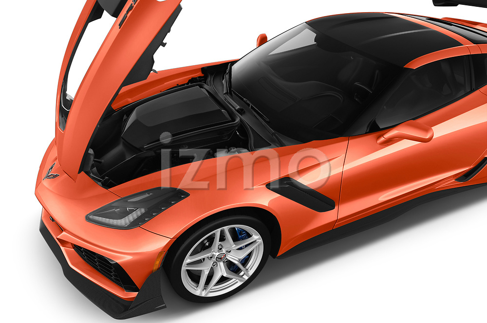 Car stock 2019 Chevrolet Corvette ZR1 3 Door Targa engine high angle detail view