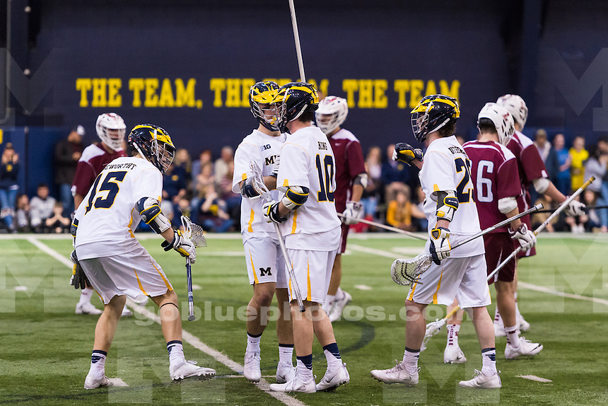 The University of Michigan mens lacrosse team,17-6  victory over Lafayette at Oosterbaan Arena in Ann Arbor, MI on February 11, 2017