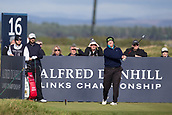 5th October 2017, The Old Course, St Andrews, Scotland; Alfred Dunhill Links Championship, first round; Patrick Newcomb of the USA tees off on the sixteenth hole during the first round at the Alfred Dunhill Links Championship on the Old Course, St Andrews