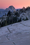 Evening light and pink sky over Half Dome from Olmsted Point, Yosemite National Park, California