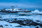 A winter storm at Cape Neddick (Nubble) Light in York, Maine, USA