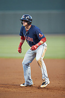 Brett Netzer (13) of the Salem Red Sox takes his lead off of first base against the Winston-Salem Dash at BB&T Ballpark on April 20, 2018 in Winston-Salem, North Carolina.  The Red Sox defeated the Dash 10-3.  (Brian Westerholt/Four Seam Images)