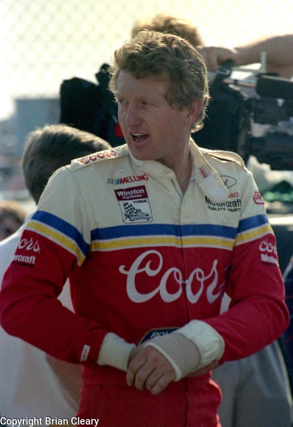 Bill Elliott injured hand Daytona 500 at Daytona International Speedway on February 19, 1989.  (Photo by Brian Cleary/www.bcpix.xom)