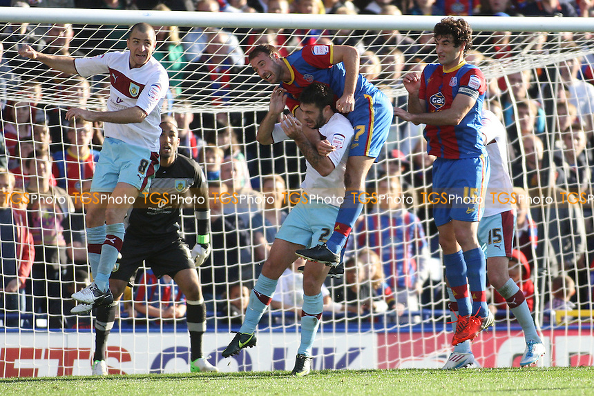 Glenn Murray of Crystal Palac rises high on top of Charlie Austin of Burnley- Crystal Palace vs Burnley - NPower Championship Football at Selhurst Park, London - 06/10/12 - MANDATORY CREDIT: George Phillipou/TGSPHOTO - Self billing applies where appropriate - 0845 094 6026 - contact@tgsphoto.co.uk - NO UNPAID USE.