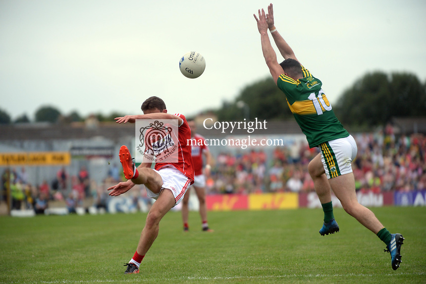 2-7-2017: Cork's Mark Collins and Kerry's Michael Geaney in action  in action at the Kerry V Cork Munster Football final in Killarney on Sunday.<br /> Photo: Don MacMonagle