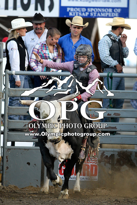 20 Aug 2014:  Derek Kolbaba scored a 64 on his first ride in the Seminole Hard Rock Extreme Bulls competition at the Kitsap County Stampede in Bremerton, Washington.