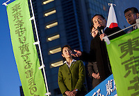 Former Japanese Air Self Defense Force (JASDF) Chief of Staff, Toshio Tamogami, campaigns for election as Tokyo Governor. Shibuya, Tokyo, Japan. Friday, January 17th 2014. Tamogami was forced to resign his position as a general in the JASDF when he wrote a essay questioning the accepted history of Japan's aggression in the 1930s and 40s. He leads the right-wing pressure and political group, Ganbare Nippon and is supported in his gubernatorial bid by nationalist former governor, Shintaro Ishihara.