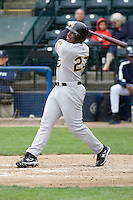 June 1, 2008: Salt Lake Bees' Dee Brown strokes an RBI double to left field against the Tacoma Rainiers at Cheney Stadium in Tacoma, Washington.