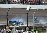 May 28, 2017; Indianapolis, IN, USA; IndyCar Series driver Scott Dixon (9) goes airborne and crashes during the 101st Running of the Indianapolis 500 at Indianapolis Motor Speedway. Mandatory Credit: Mark J. Rebilas-USA TODAY Sports