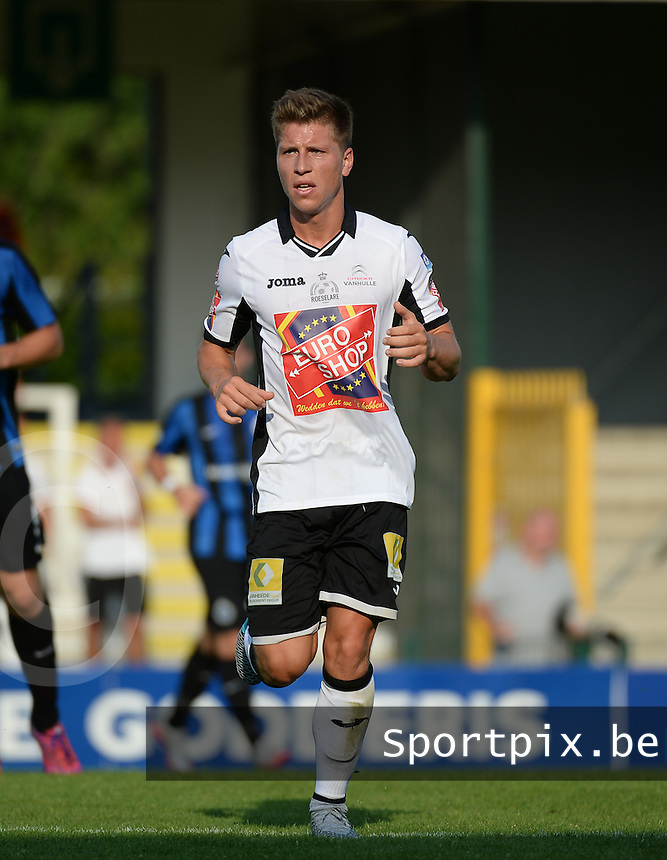 20150703 - ROESELARE , BELGIUM : Roeselare's Aaron Vanfleteren  pictured during a friendly match between Belgian second division team KSV Roeselare and Belgian first division soccer team Club Brugge , during the preparations for the 2015-2016 season, Friday 3 July 2015 in Roeselare . PHOTO DAVID CATRY