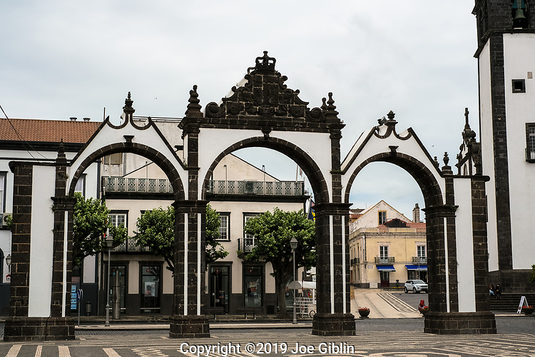 The town gates or Portas de Cidade in Ponta Delgada, Sao Miguel, Portugal, the target island in the Azores.