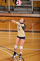 11 September 2011:  FIU defensive specialist/libero Chanel Araujo (13) returns the ball during the third set as the FIU Golden Panthers defeated the Florida A&M University Rattlers, 3-0 (25-10, 25-23, 26-24), at U.S Century Bank Arena in Miami, Florida.