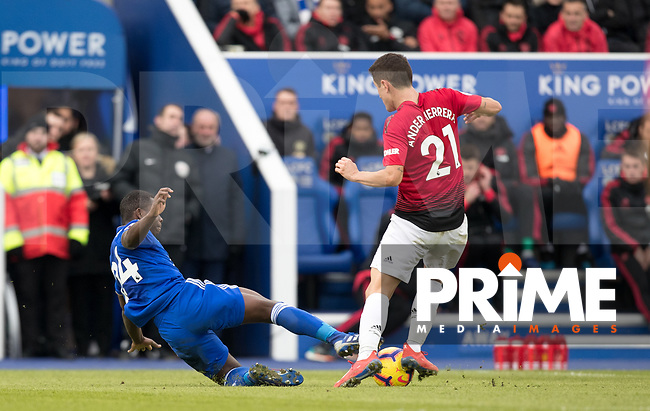 Nampalys Mendy of Leicester City fouls Ander Herrera of Man Utd during the Premier League match between Leicester City and Manchester United at the King Power Stadium, Leicester, England on 3 February 2019. Photo by Andy Rowland.