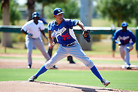 Los Angeles Dodgers minor league pitcher Carlos Frias #75 during an instructional league game against the Chicago White Sox at the Camelback Training Complex on October 9, 2012 in Glendale, Arizona. (Mike Janes/Four Seam Images)
