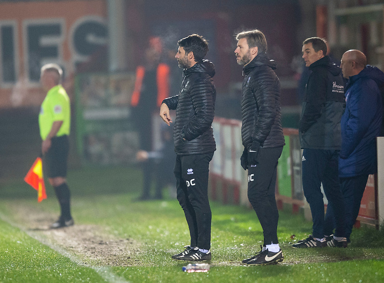 Lincoln City manager Danny Cowley, left, and Nicky Cowley in their technical area<br /> <br /> Photographer Andrew Vaughan/CameraSport<br /> <br /> The EFL Checkatrade Trophy Second Round - Accrington Stanley v Lincoln City - Crown Ground - Accrington<br />  <br /> World Copyright © 2018 CameraSport. All rights reserved. 43 Linden Ave. Countesthorpe. Leicester. England. LE8 5PG - Tel: +44 (0) 116 277 4147 - admin@camerasport.com - www.camerasport.com