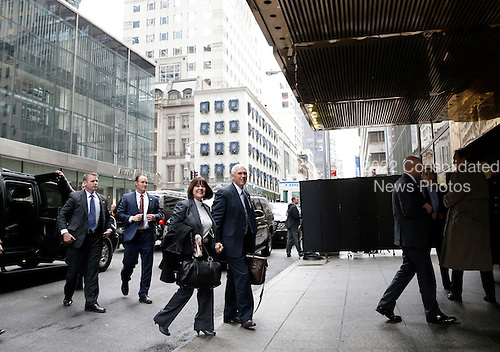 United States Vice President-elect Mike Pence holds hands with wife Karen Pence as he speaks to reporters outside of Trump Tower on December 5, 2016 in New York City. U.S. President-elect Donald Trump is still holding meetings upstairs at Trump Tower as he continues to fill in key positions in his new administration. <br /> Credit:John Angelillo / Pool via CNP