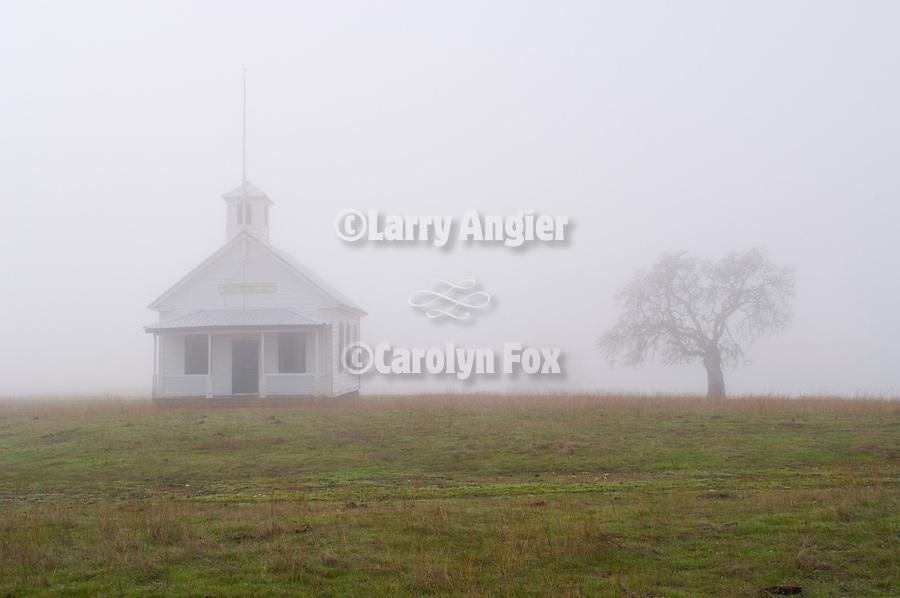 Salt Creek Valley Schoolhouse (one room school), fog, Salt Spring Valley, Calif.