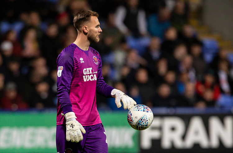 Blackpool's goalkeeper Jak Alnwick <br /> <br /> Photographer Andrew Kearns/CameraSport<br /> <br /> The EFL Sky Bet League One - Bolton Wanderers v Blackpool - Monday 7th October 2019 - University of Bolton Stadium - Bolton<br /> <br /> World Copyright © 2019 CameraSport. All rights reserved. 43 Linden Ave. Countesthorpe. Leicester. England. LE8 5PG - Tel: +44 (0) 116 277 4147 - admin@camerasport.com - www.camerasport.com