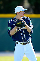 Notre Dame Fighting Irish pitcher Matt Ternowchek #42 before a game against the Mercer Bears at the Buck O'Neil Complex on February 17, 2013 in Sarasota, Florida.  Mercer defeated Notre Dame 5-4.  (Mike Janes/Four Seam Images)