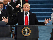 President Donald Trump delivers his inaugural address at the inauguration on January 20, 2017 in Washington, D.C.  Trump became the 45th President of the United States.         <br /> Credit: Pat Benic / Pool via CNP