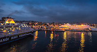 Fine Art Landscape, Seascape, Travel Photograph, Night scene of the cruise ships in Naples Italy.