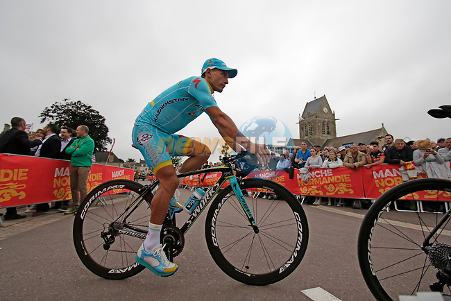 Astana Pro Team arrives for the team presentations before the start of the 2016 Tour de France, Sainte-Mere-Eglise, France . 30th June 2016.<br /> Picture: Eoin Clarke | Newsfile<br /> <br /> <br /> All photos usage must carry mandatory copyright credit (&copy; Newsfile | Eoin Clarke)