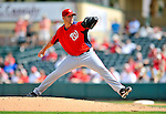 3 March 2011: Washington Nationals' pitcher Garrett Mock on the mound during a Spring Training game against the St. Louis Cardinals at Roger Dean Stadium in Jupiter, Florida. The Cardinals defeated the Nationals 7-5 in Grapefruit League action. Mandatory Credit: Ed Wolfstein Photo