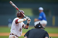 Dylan Busby (28) of the Florida State Seminoles at bat against the Duke Blue Devils in the first semifinal of the 2017 ACC Baseball Championship at Louisville Slugger Field on May 27, 2017 in Louisville, Kentucky. The Seminoles defeated the Blue Devils 5-1. (Brian Westerholt/Four Seam Images)