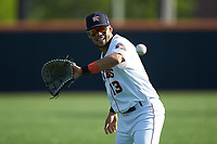 Kristian Trompiz (13) of the Buies Creek Astros warms up in the outfield prior to the game against the Frederick Keys at Jim Perry Stadium on April 28, 2018 in Buies Creek, North Carolina. The Astros defeated the Keys 9-4.  (Brian Westerholt/Four Seam Images)