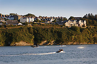Two speedboats in Fishguard, Wales, UK. Wednesday 28 August 2019