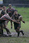 J. Paul gets his pass away under pressure from K. Remkes. Counties Manukau Premier 2 Championship game between Bombay and Papakura played at Bombay on May 13th, 2006. Papakura won 8 - 7.