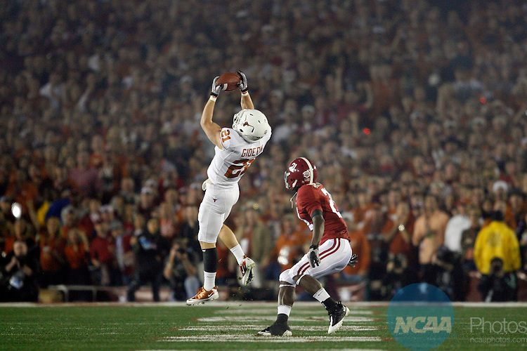 07 JAN 2010:  Blake Gideon (21) of the University of Texas intercepts a pass on a fake punt against the University of Alabama during the BCS National Championship held at the Rose Bowl in Pasadena, CA.  Alabama defeated Texas 37-21 for the national title. Jamie Schwaberow/NCAA Photos