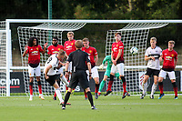 Cauley Woodrow of Fulham U23's hits a free-kick just wide of the Manchester United goal during Fulham Under-23 vs Manchester United Under-23, Premier League 2 Football at Motspur Park on 10th August 2018