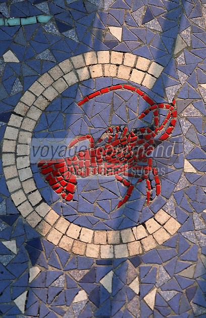"""Europe/France/Provence-Alpes-Côte d'Azur/13/Bouches-du-Rhône/Marseille: Restaurant""""Calypso"""" rue des Catalans détail de la décoration années 1960 :Langouste"""