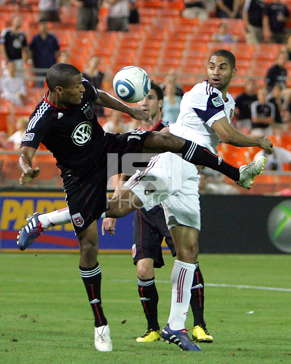 Jordan Graye #16 of D.C. United tangles with Alvaro Saborio #15  of Real Salt Lake during an Open Cup match at RFK Stadium, on June 2 2010 in Washington DC. DC United won 2-1.