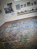 NEW YORK, Easthampton, Paint splatter in the studio of the Pollock-Krasner House and Study Center<br /> 830 Springs-Fireplace Road<br /> East Hampton, NY 11937-1512<br /> Phone: 631-324-4929
