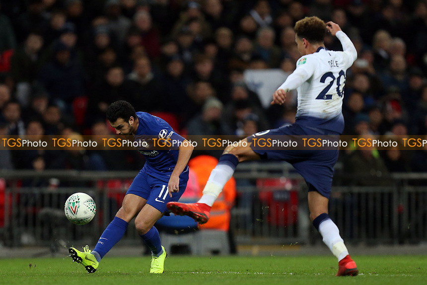 Pedro of Chelsea and Dele Alli of Tottenham Hotspur during Tottenham Hotspur vs Chelsea, Caraboa Cup Football at Wembley Stadium on 8th January 2019
