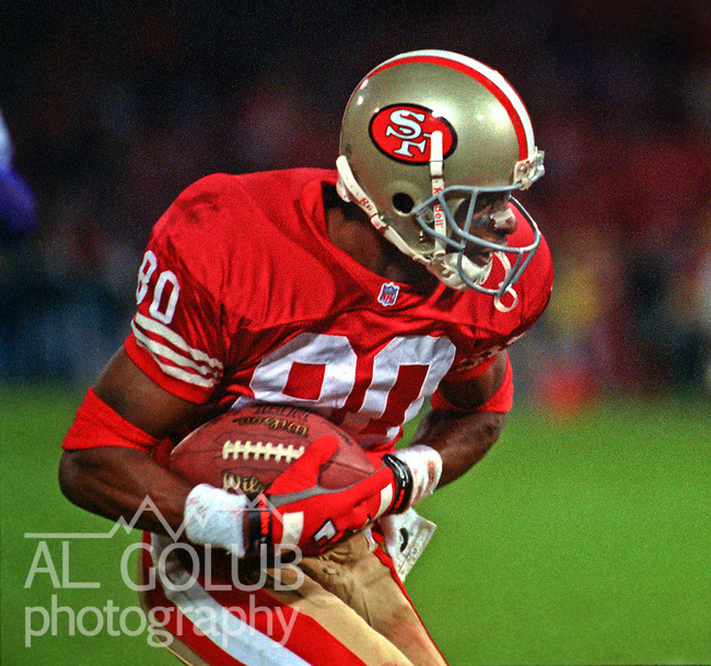 San Francisco 49ers vs. Minnesota Vikings at Candlestick Park Monday, December 18, 1995.  49ers beat Vikings  37-30.  San Francisco 49ers wide receiver Jerry Rice (80) catches ball.