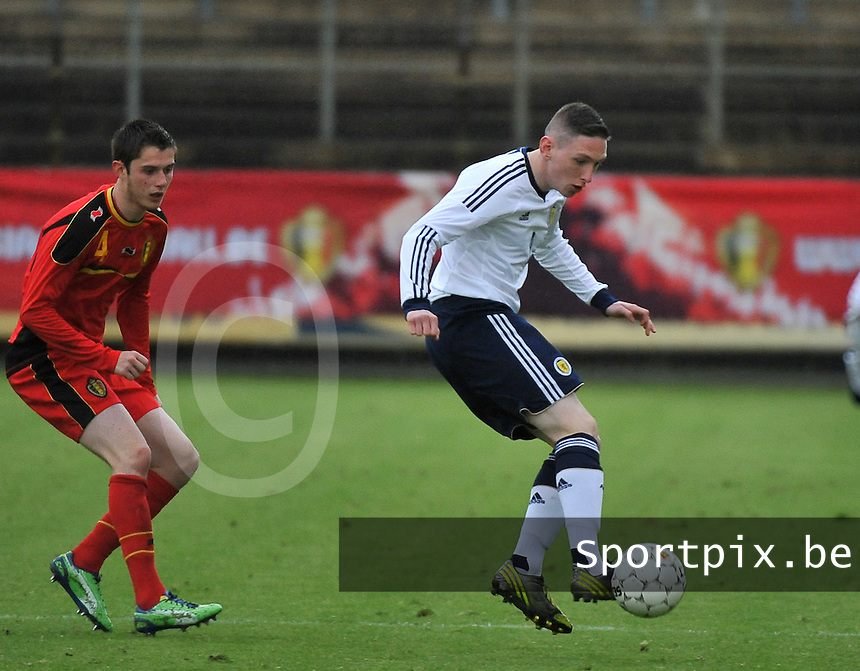 Scotland U19 - Belgium U19 : Declan Mcmanus before Corentin Fiore (Left).foto DAVID CATRY / Nikonpro.be