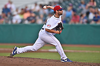 Tennessee Smokies pitcher Jeff Lorick #25 delivers a pitch during a game against the Jacksonville Suns at Smokies Park July 10, 2014 in Kodak, Tennessee. The Suns defeated the Smokies 6-5. (Tony Farlow/Four Seam Images)