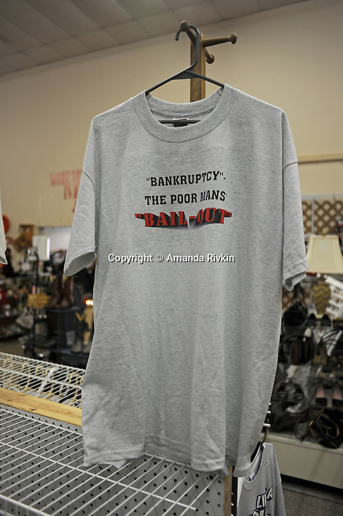 """A T-shirt on sale at the You Never Know Flea Market states, """"'Bankruptcy'. The Poor Mans' [sic] 'bail-out'"""" on County Road 9 in Elkhart, Indiana on April 8, 2009.  Obama has targeted the city of Elkhart as a bellwether, given the quadrupling of Elkhart's unemployment figure in the past year."""