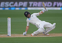 NZ captain Kane Williamson ducks a bouncer during day four of the international cricket 2nd test match between NZ Black Caps and England at Seddon Park in Hamilton, New Zealand on Friday, 22 November 2019. Photo: Dave Lintott / lintottphoto.co.nz