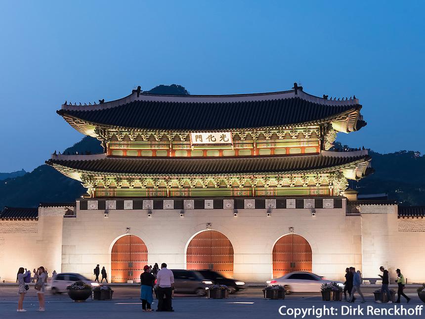 Gwanghwamun Tor des Palast  Gyeongbukgung in Seoul, S&uuml;dkorea, Asien<br /> Gwanghwamun gate of palace Gyeongbukgung in Seoul, South Korea, Asia