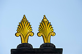 Udaipur, Rajasthan,  India. Pair of Czech glass finials on the Maharana's City Palace. They were imported from Czechoslovakia circa 1700.