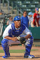 Wilmington Blue Rocks catcher Salvador Perez of the Carolina League All-Stars taking infield before the California League vs. Carolina League All-Star game held at BB&T Coastal Field in Myrtle Beach, SC on June 22, 2010. The California League All-Stars defeated the Carolina League All-Stars by the score of 4-3.  Photo By Robert Gurganus/Four Seam Images