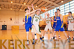 Patrick McCarthy Mounthawk v Alex Flenrney Castleisland in the U-19 Munster Basketball final in Monthawk Gym on Monday.