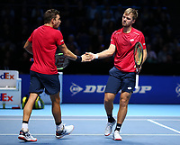 15th November 2019; 02 Arena. London, England; Nitto ATP Tennis Finals; Kevin Krawietz (GER) with doubles partner Andreas Mies (GER) - Editorial Use