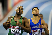 10th February 2019, Arena Birmingham, Birmingham, England; Spar British Athletics Indoor Championships; Connor Wood wins his heat to qualify for the men's 200m final during Day Two of the Spar Indoor Athletics Championships at Birmingham Arena